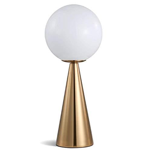 Schreibtischlampe Nachtlicht Moderne Einfache Schlafzimmer Kreative Nachttischlampe Runde Kugel Glasschirm Gold Farbe Schmiedeeisen Kegel Tischlampe Mit Druckschalter Für Wohnzimmer Dekoration