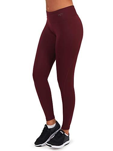 TCA Pro Performance Damen schweißabweisende Laufhose/Leggings mit Reißverschlusstasche - Dunkelrot, XS