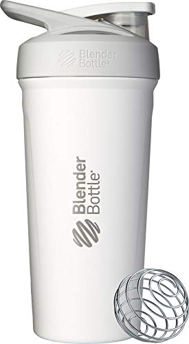 BlenderBottle Strada Shaker Cup Insulated Stainless Steel Water Bottle with Wire Whisk, 24-Ounce, White