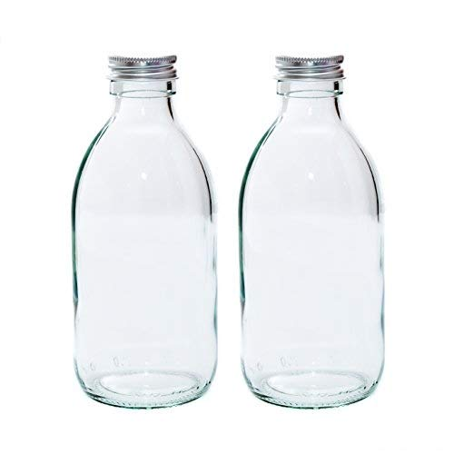 250ml CLEAR GLASS Bottles with SILVER Lids PACK of 2