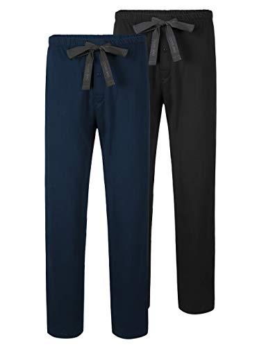 DAVID ARCHY Herren Schlafanzughose Lang mit Eingriff Baumwolle Pyjama Hose mit Taschen und Band Nachtwäsche mit Knopfleiste für Männer 2er Pack