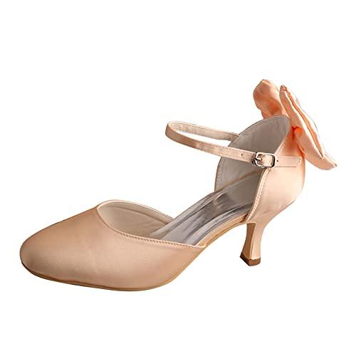 Zapatos Mary Jane De Boda para Mujer Tacón Medio Satén Correa En...