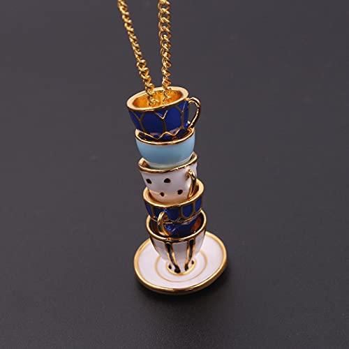 Alushisland Collar de Esmalte Pintado a Mano, Colgante de Taza de té múltiple, Gargantilla de Cadena Larga, Collar, joyería para Mujer, Regalos