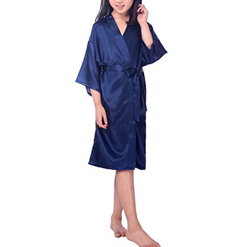 Deloito Kinder Seiden Pyjama Unterwäsche Jungen Mädchen Nachtkleid Schlafanzug Pure Farbe Bademantel Nachthemd Dessous Kimono-Roben Nachtwäsche (Dunkelblau,X-Large)