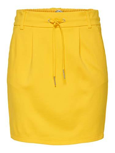 Falda elástica corta amarilla para mujer