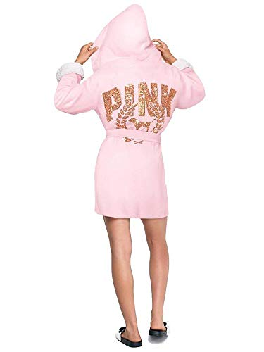 Victoria's Secret Pink Cozy Short Hooded Plush Robe Pink About It with Gold Sequins M/L