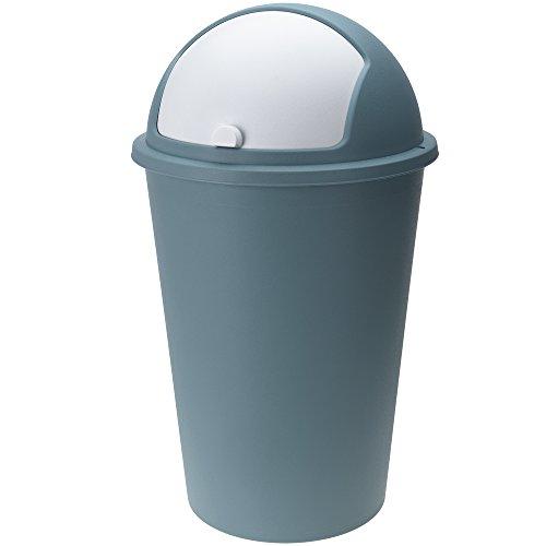 Deuba Mülleimer 50 L Blau Abfalleimer mit Schiebedeckel Abnehmbar Müllbehälter Kunststoff Abwaschbar Küche Büro Robust
