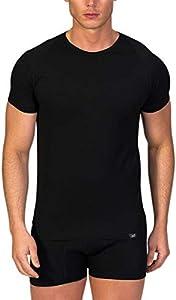 Camiseta Interior Hombre de Manga Corta con Cuello Redondo -ZD -Algodón Egipcio-Color Negro- Talla L/XL