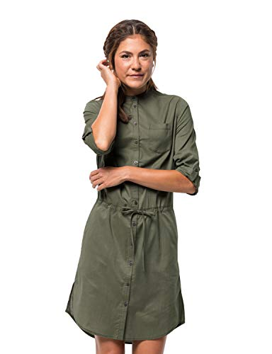 Jack Wolfskin Damen Indian Springs Kleid, Woodland Green Stripes, XS
