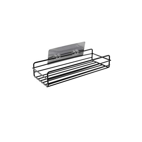 NZHK Punch-Free Shelf Almacenamiento Organizador Ducha Estante de Pared Estante de Almacenamiento Caja de Cocina Canasta Accesorios de baño (Color : B Black)