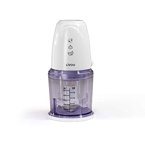 Trituradora eléctrica de cocina (cortador de verduras, cebolla, cuenco de 0,5 litros, cuchilla de acero inoxidable, 260 W), color blanco