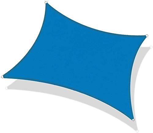 Toldo vela rectangular Velas de sombra rectángulo Anti-UV Toldo Pergola impermeable cortina de Sun Net toldo al aire libre Patio Piscina Protección de la sombrilla de jardín Toldo (Color: azul, tamaño