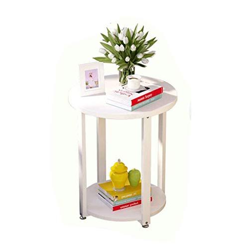 Pequeña mesa de café simple mini sofá lateral mesa redonda moderna minimalista sala de estar teléfono soporte esquina doble estante (50 x 50 x 55 cm) mesa plegable (color A: A) mei