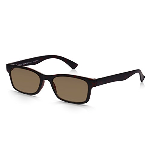 Read Optics Lese- und Sonnenbrille: Herren und Damen Retro Lesebrille mit 100% UV-Schutz in braunem Schildpatt. UV-400 Gläser in Stärke +1,0 bis +3,5. Dünner und bruchsicherer Rahmen aus Polykarbonat