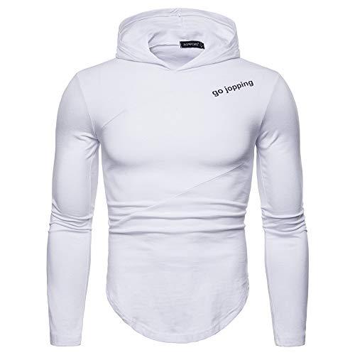CFWL T-Shirt da Uomo A Maniche Lunghe con Cappuccio Moda Primavera Uomo L Uomo Design Camicia Uomo Stretch Camicia Uomo Larghe Camicia Uomo Doppio Bottone Camicia Bianca Uomo Regular Sodial
