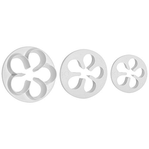 PME FP900 Lot de 3 Emporte Pièces Fleurs à 5 Pétales, Plastique, Blanc, 5 x 5 x 5 cm