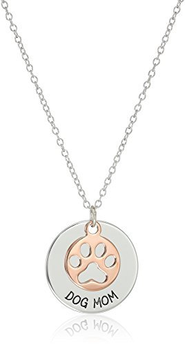Sterling Silver 'Dog Mom' with 14k Rose Gold Plated Paw Print Disc Necklace, 18'