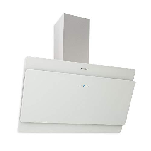 Klarstein Aurica 90 Dunstabzugshaube - Wandhaube, kopffrei, 90 cm breit, 610 m³/h Leistung, Touch-Steuerung, Glas, Umrüstung auf Umluft möglich, weiß