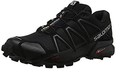 Salomon Men's Speedcross 4 Trail Running, Black/Black/Black Metallic, 13