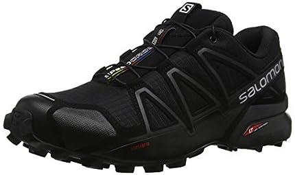 Salomon Speedcross 4 Hombre Zapatos de trail running, Negro (Black/Black/Black Metallic), 44 EU