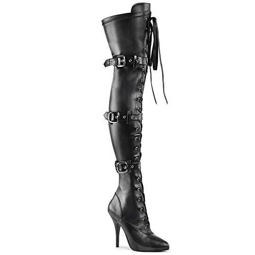 Higher-Heels PleaserUSA Overknee-Stiefel Seduce-3028 Mattschwarz Gr.37