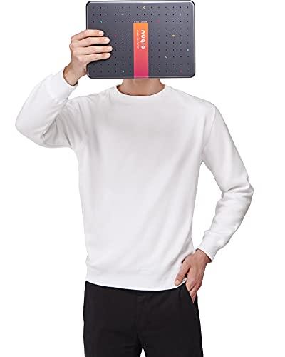 Nuqlo Felpa Uomo Senza Cappuccio Basic | Cotone Premium | Tessuto Interno in Fleece Light™ | Cuciture Nastrate | Maniche Lunghe
