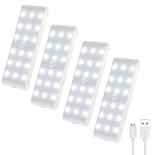 Uooser LED Schrankbeleuchtung mit Bewegungsmelder Lichtleiste USB Unterbauleuchte Wiederaufladbar Dimmbare Schranklicht 4 Stück 18er LEDs Leiste Neutralweiß Nachtlicht für Küche Treppe Kleiderschrank