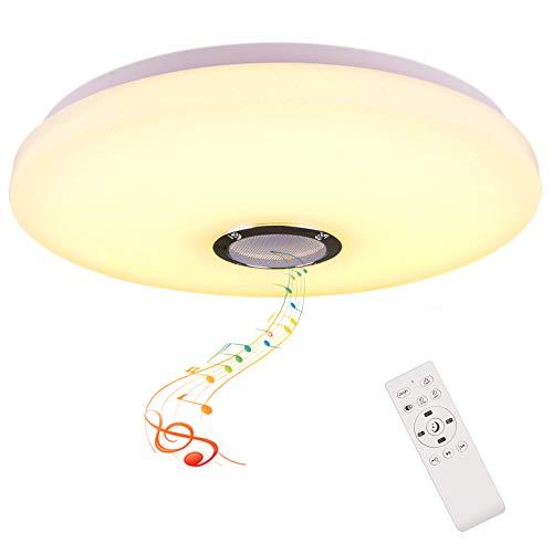 HOREVO 36W Ø48cm Lámpara de Techo Música 2700k~6500K Luz de Techo con Altavoz Bluetooth y Control Remoto Lámpara LED Adecuado Para el Dormitorio, Sala de Estar, Sala de Niños (Certificación CE)