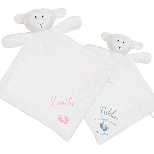 Persönliches Schnuffeltuch Schaf mit Namen (Datum & Uhrzeit optional) - Schmusetuch und Kuscheltier fürs Baby Junge und Mädchen - Geschenk zur Geburt oder für das Patenkind zur Taufe (Füße)