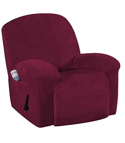 E EBETA Samt-Optisch Stretchhusse für Relaxsessel Sesselbezug, Komplett Sesselschoner, Elastisch Bezug für Fernsehsessel Liege Sessel (Weinrot)