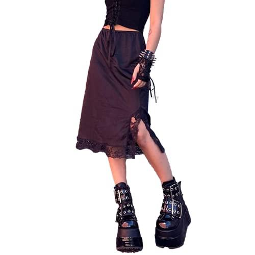 Cslada Y2k, Faldas a Media Pierna Negras góticas para Mujer, Encaje académico Oscuro, Lindo Dividido, Elegante, Sexy, de Cintura Alta, Falda Coreana, Ropa de Calle para niña E