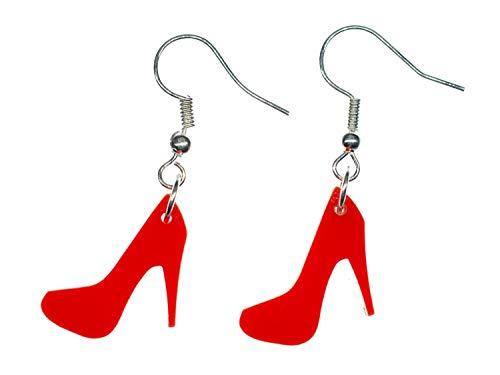 Miniblings Pumps Ohrringe Hänger Schuhe Highheels Fashion Frau Acrylglas rot - Handmade Modeschmuck I Ohrhänger Ohrschmuck versilbert
