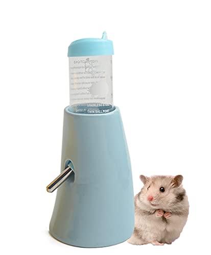 ハムスター リス ハリネズミ 水飲み器 自動給水器 陶器製台座 タンク ボトル ロールボール 水漏れ防止 小動物 ウォーターボトル (ブルーの台座+80mlボトル)