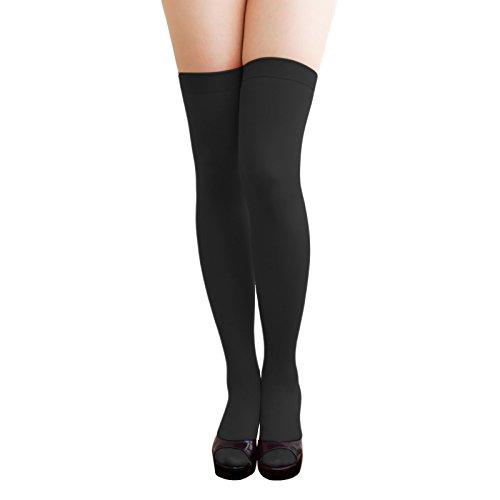 Oblique-Unique® Sexy Strumpfhose -halterlos- Overknee Strümpfe - Party Kostüm Fasching Karneval (Overknee schwarz)