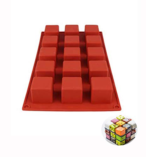 DIY Cake Tool Magic Square Silicone Cake Mold Rubiks Cube Chocolate Mousse Cake Silicone Cake Mould Dessert Baking Tools (Red)