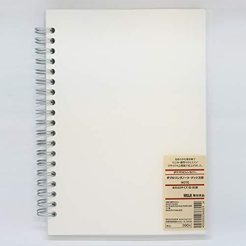 Muji Notizbücher mit Doppelringen, Recyclingpapier, Punktraster, A5, Weiß