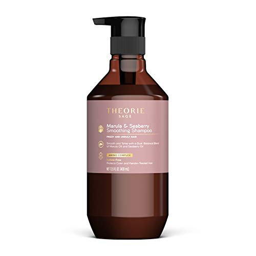 THEORIE Marula and Seaberry Smoothing Shampoo - Smooth & Tame - Sulfate Free - Suited for Frizzy & Unruly Hair - Protects Color and Keratin Treated Hair, Pump Bottle 400mL