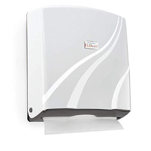 Dispensador de toallas de papel Z plegable de montaje en pared plástico ABS, capacidad para 300 toallas de papel, color blanco
