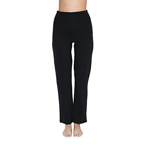 Leela Cotton Damen Yoga-Hose Bio-Baumwolle/Elasthan, Schwarz, Gr. L