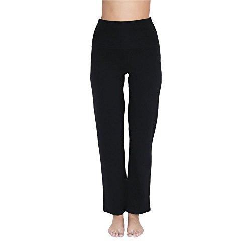 Leela Cotton Damen Yoga-Hose Bio-Baumwolle/Elasthan, Schwarz, Gr. M