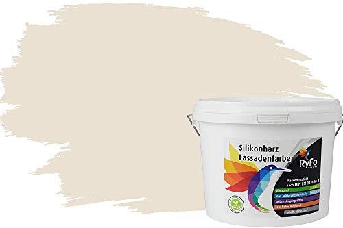 RyFo Colors Silikonharz Fassadenfarbe Lotuseffekt Trend Weißtöne Cremé 3l - bunte Fassadenfarbe, weitere Weiß Farbtöne und Größen erhältlich, Deckkraft Klasse 1