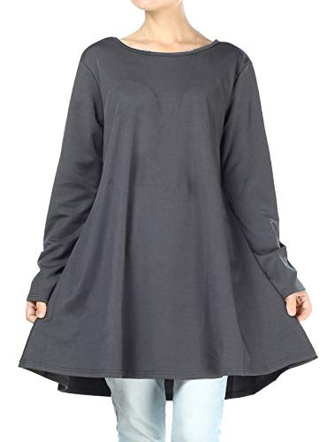 Mordenmiss Women's Swing Tunic Tops Loose Fit Shirt Dress with Pockets(L,Dark Gray)