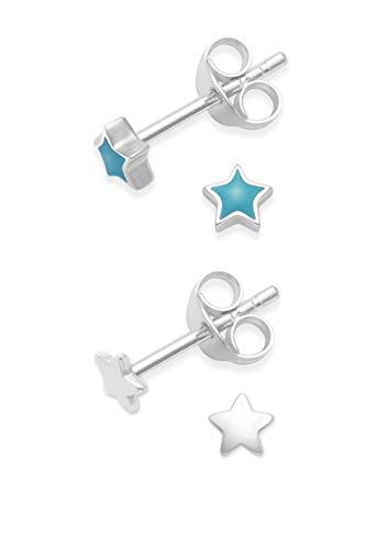 plata de ley Estrella Juego de pendientes de tuerca esmalte color turquesa - TAMAÑO: minúscula - 3 millimeter
