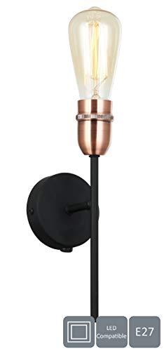 HARPER LIVING 1xE27/ES UP wandlamp met aan/uit-schakelaar, zwart met koperen afwerking, geschikt voor LED-upgrade, ideaal voor slaapkamer, woonkamer, hal, hotel, B & B, metaal