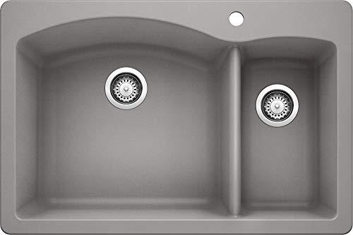 "BLANCO, Metallic Gray 440198 Diamond Silgranit 70/30 Double Bowl Drop-In or Undermount Kitchen Sink, 33"" X 22"""