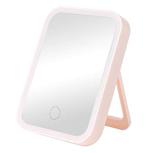 kowaku Espejo de Maquillaje de Vanidad de Viaje con Luz LED, Portátil, Iluminado, USB Recargable - Rosa tres colores Luz