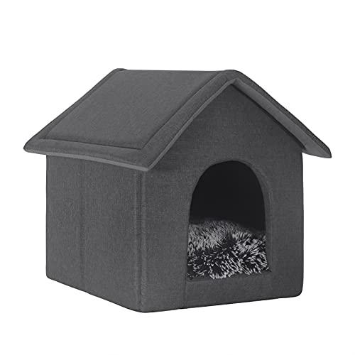 EUGAD Katzenhaus Hundehöhle Katzenhöhle Kuschelhöhle Kleintierhaus für Kätzchen Chihuahua Havaneser Welpen Grau S 38x35x35cm 0010GD