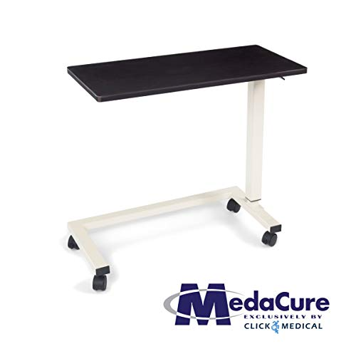 Medacure Bedside Table with Wheels - Overbed Table Hospital Bed – Home, Food, Laptop, Reading - Adjustable Height, No Spill Rim, Heavy Duty Steel Frame, Locking Casters - 50lb Capacity - Mahogany