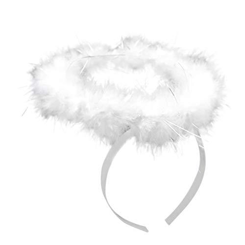 iYmitz Mode Karneval Damen Flügel Weiß Engel Feder Halloween Stock und Halo Stirnband Cosplay Partys Karneva Cosplay Kostüme(C-Weiß,One size)