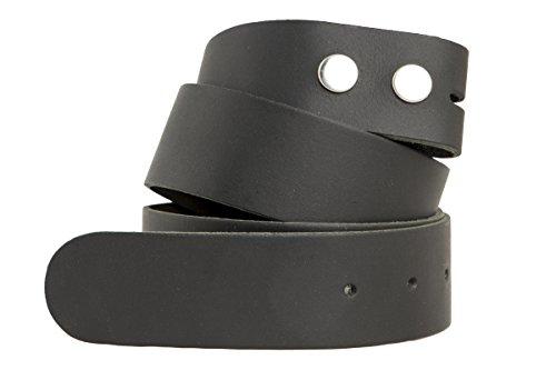 shenky Wechselgürtel Echt Leder ohne Schnalle Gürtel für Gürtelschnalle zum Wechseln 4cm Breite (Bundweite 115cm = Gesamtlänge 125cm, Schwarz)